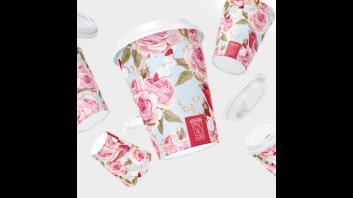 أكواب الورود الوردية  وسط  50 كوب