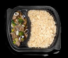بروكلي اللحم الصيني مع أرز القرنبيط