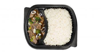 بروكلي اللحم مع الأرز الأبيض