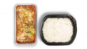 Eggplant Moussaka With White Rice