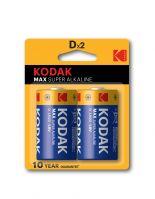Kodak Max Alkaline D Battery - Pack of 2