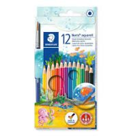 Staedtler Cardboard box containing 12 water color pencils in assorted colors and 1 paint brush