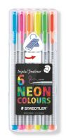 Staedtler box containing 6 triplus fineliner in assorted colors, neon