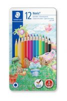 Staedtler Metal case containing 12 colored pencils in assorted colors