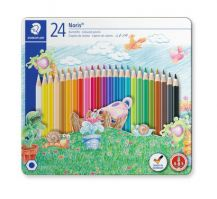 Staedtler Metal case containing 24 colored pencils in assorted colors