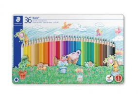 Staedtler Metal case containing 36 colored pencils in assorted colors