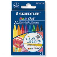 Staedtler Cardboard box containing 24 wax crayons in assorted colours